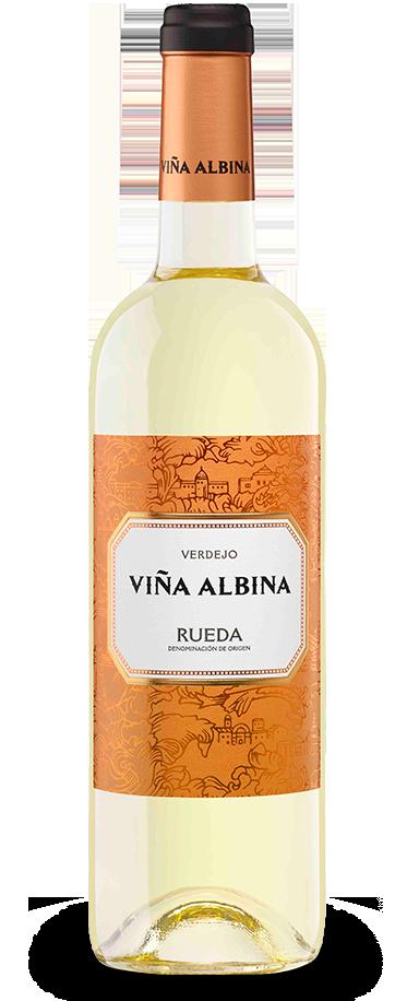 Fotografía de una botella de Viña Albina Verdejo.