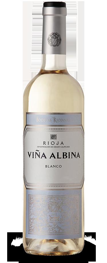 Fotografía de una botella de Viña Albina Blanco.