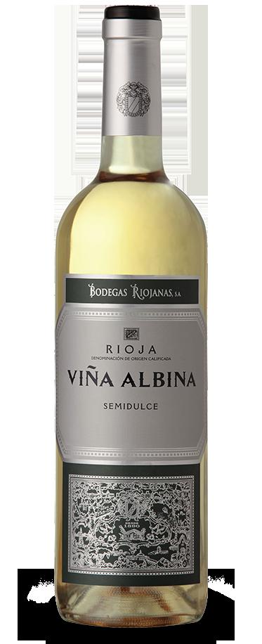 Fotografía de una botella de Viña Albina Semidulce.