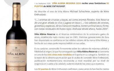 Excelente puntuacion para Viña Albina Reserva 2016 por Wine Enthusiast